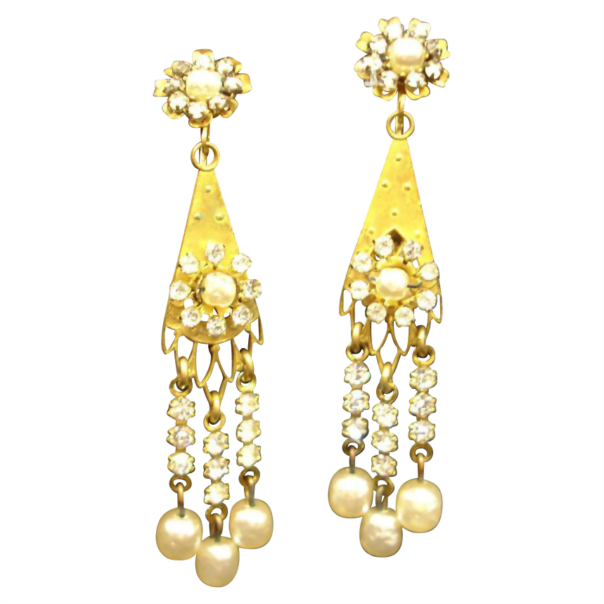 MIRIAM  HASKELL Baroque Pearl Drop Dangle Earrings - Vintage Miriam Haskell Baroque Glass Pearl Jewelry