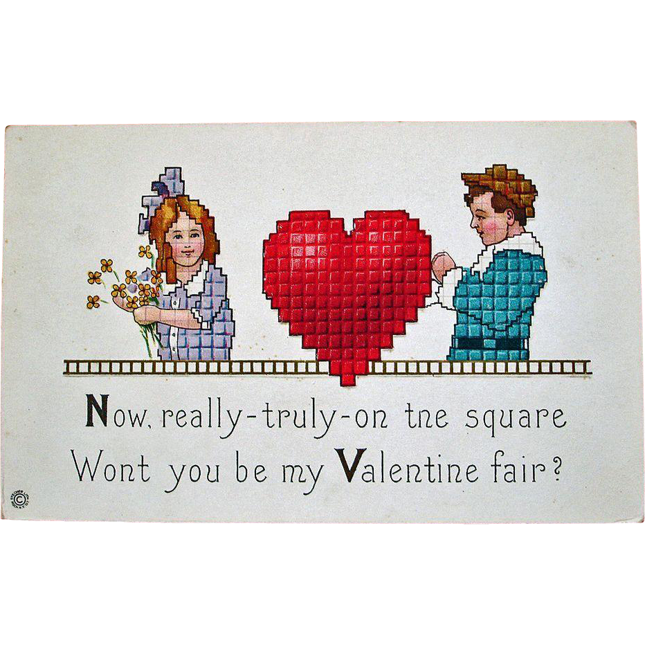 Vintage STECHER Embossed Valentine Postcard – Stecher Series 154 E - Unused