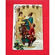 Vintage Embossed SANTA Postcard - Old World Blue Robe Santa - Undivided Back Post Card
