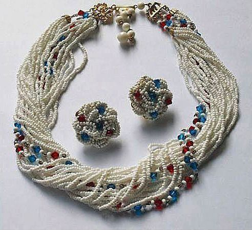 HOBE Torsade Demi Parure - Vintage HOBE Signed Necklace and Earrings Jewelry Set