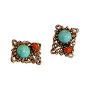 Vintage Faux Turquoise and Faux Coral Earrings - Scrolled Etruscian Design