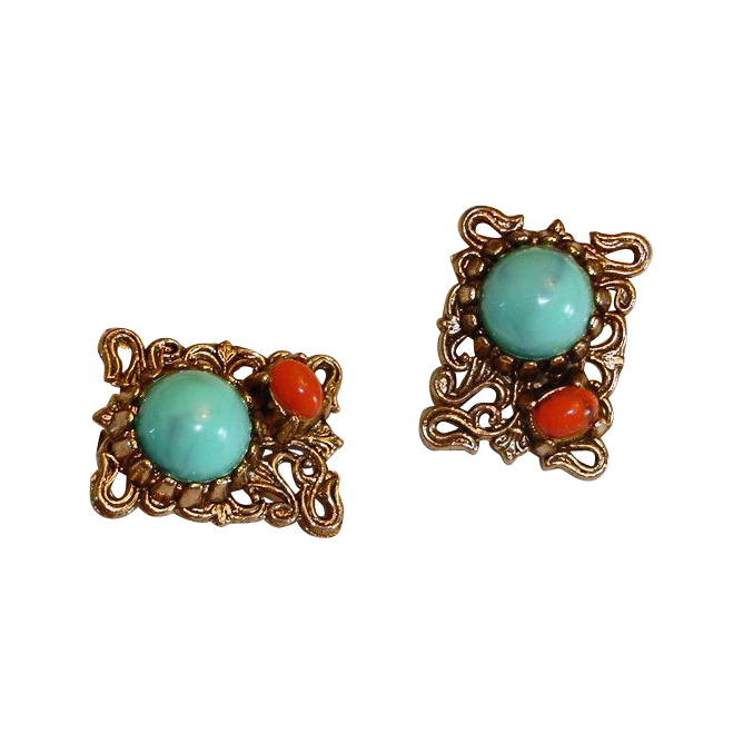 Vintage Faux Turquoise and Faux Coral Earrings - Scrolled Etruscian SNAKE Design