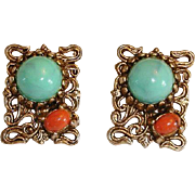 Scrolled Etruscian SNAKE Design Faux Coral and Turquoise Earrings