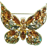 Vintage LA ROCO Rhinestone Butterfly Brooch - Insect Bug Pin