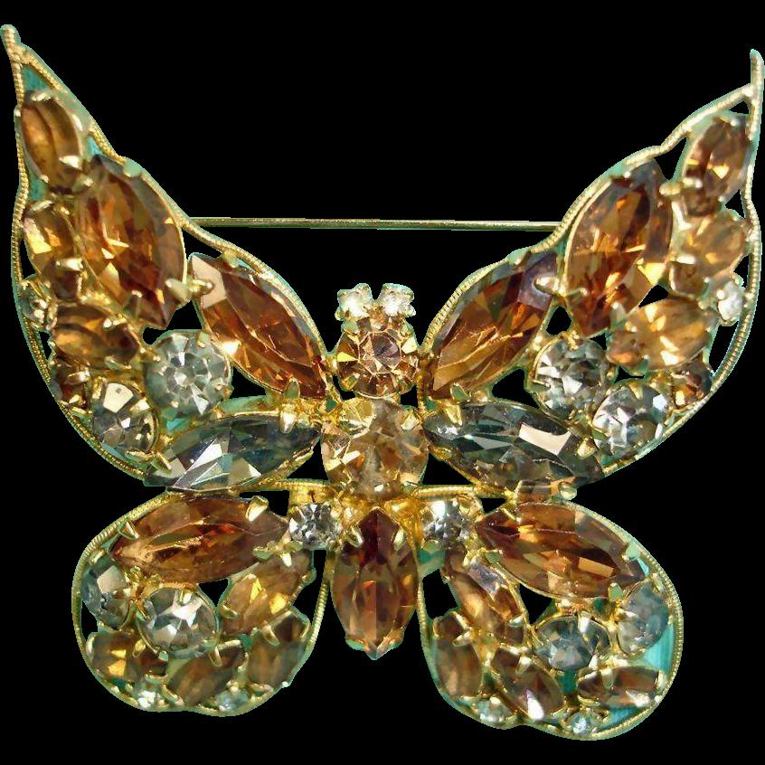 Vintage LA ROCO Rhinestone Butterfly Brooch - Insect Bug Pin