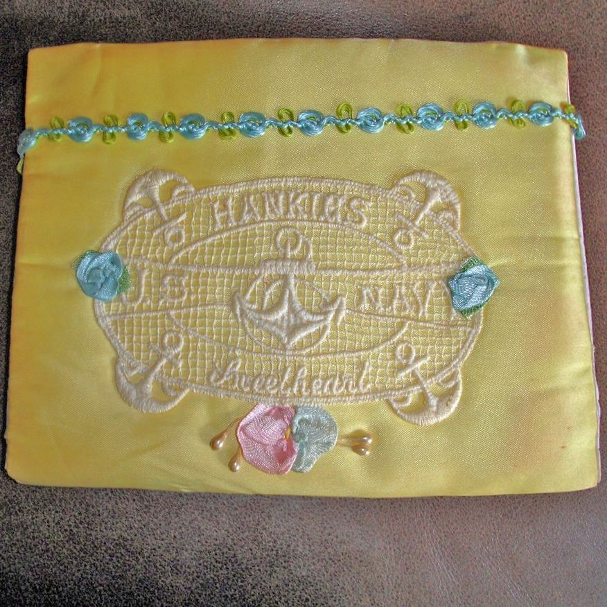 Vintage WW11 Hankie Holder - Hanky Sachet Envelope – Handkerchief Holder From a USA  Navy Sailor To His Sweetheart