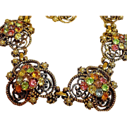 Florenza Rhinestone Parure - Necklace Bracelet and Earrings Set – Vintage Florenza Rhinestone Jewelry