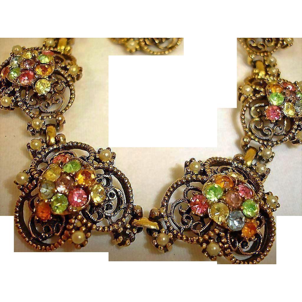 Florenza Rhinestone Parure - Necklace Bracelet and Earrings Set – Vintage Florenza Rhinestone Jewelry