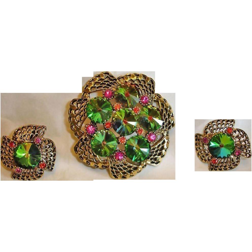 Vintage Watermelon Rivoli Rhinestone Brooch & Earring Set – Rhinestone Demi Parure Jewelry