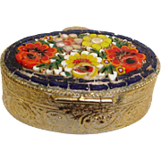 Micro Mosaic Jewelry Box Pill Box or Snuff Box - Vintage Flower Micro Mosaic Brass Box