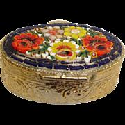 Micro Mosaic Jewelry Box Pill Box or Snuff Box - Vintage Flower Micro Mosaic Brass Box