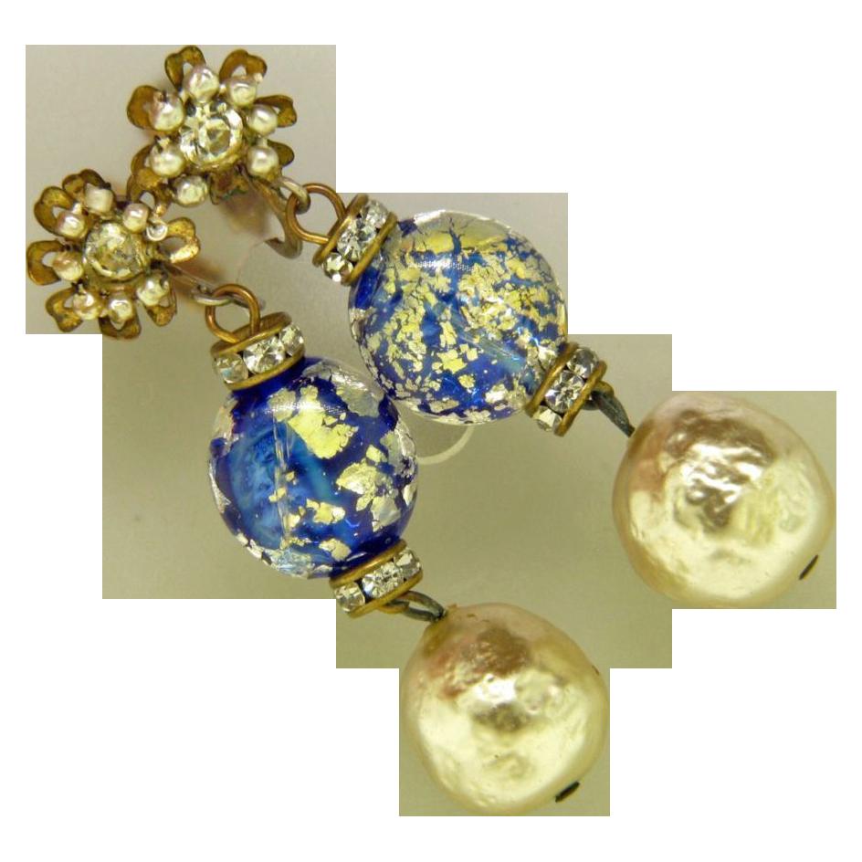 Vintage Miriam Haskell Earrings - Glass Baroque Pearl Dangle Drop Earrings
