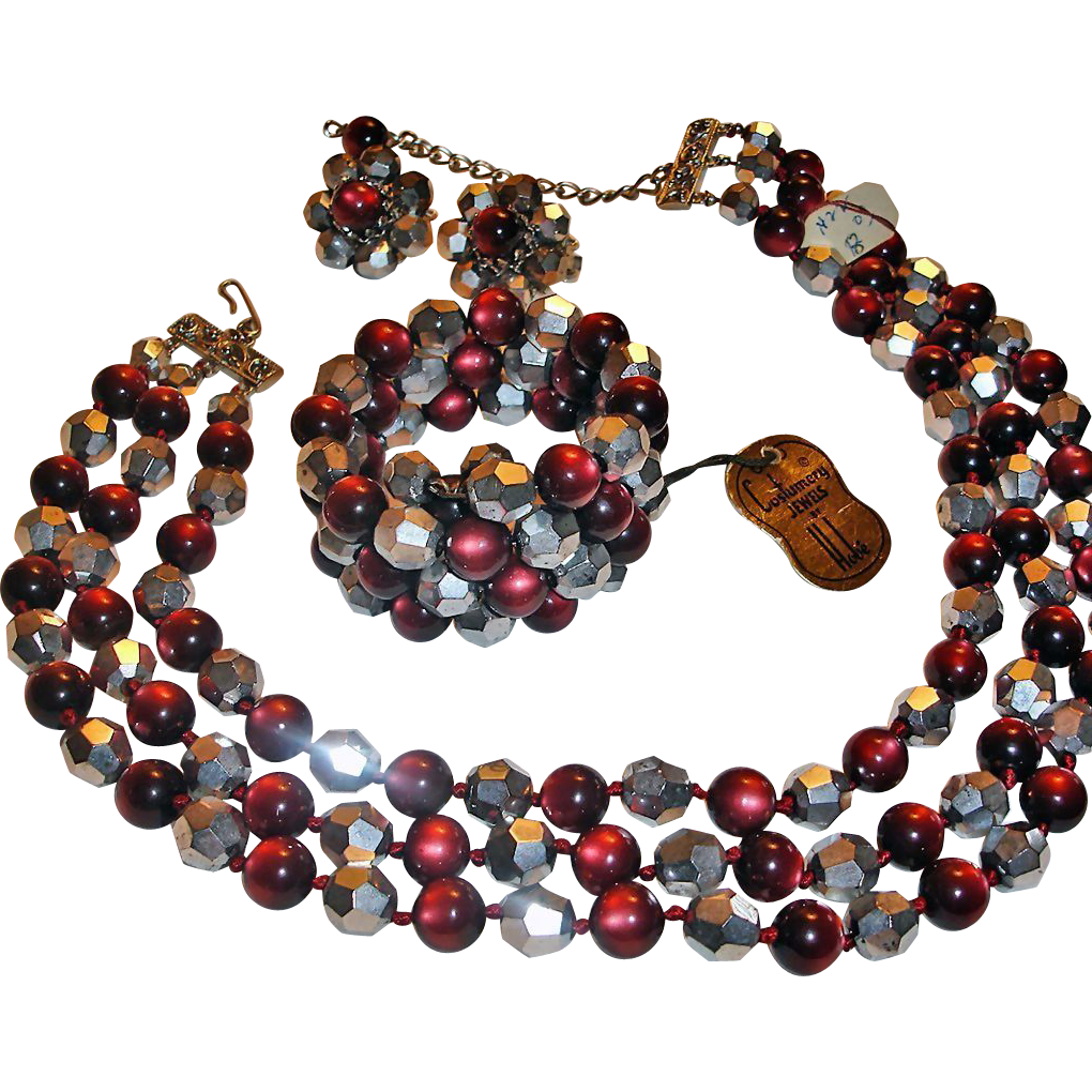 Signed Hobe Parure - Red and Silver Parure – Vintage Hobe Necklace Bracelet and Earrings Set