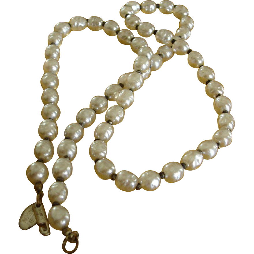 "Miriam Haskell Glass Baroque Pearl Necklace – 25"" Long - Vintage Miriam Haskell Jewelry"