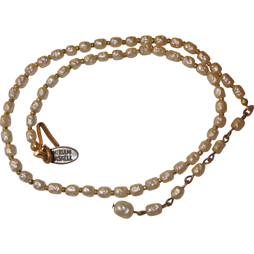 MIRIAM HASKELL Faux Baroque Pearl Necklace - Vintage Miriam Haskell Jewelry