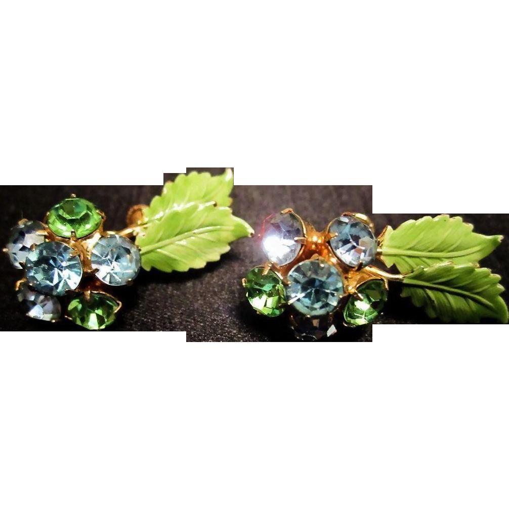 HOBE Rhinestone & Enameled Green Leaf Earrings - Vintage Rhinestone Earrings