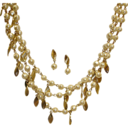 Avon Necklace and Earrings Demi Parure - 3 Strand Pearl and Gold Tone Leaf