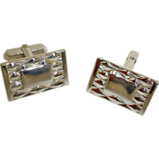 Cuff Links - Vintage HINSON Silver Tone Cufflinks