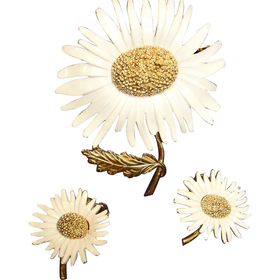Marvella Daisy Flower Demi Parure -  Floral Brooch and Earrings Vintage Jewelry Set
