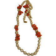 Miriam Haskell Necklace - Real Coral and Faux Baroque Pearl Necklace - Vintage Miriam Haskell Jewelry
