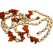 Miriam Haskell Coral and Faux Baroque Pearl Necklace - Vintage Miriam Haskell Jewelry