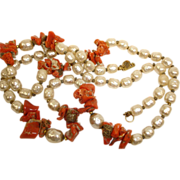 SALE!!  Miriam Haskell Coral and Faux Baroque Pearl Necklace - Vintage Miriam Haskell Jewelry
