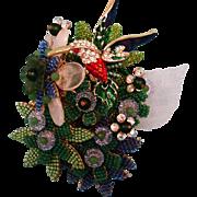 Signed Stanley Hagler Brooch - Figural Hummingbird and Flower Garden Brooch