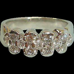 Estate Platinum Diamond Band Ring - 13 Diamonds - Eternity Diamond Ring - 5-1/2 US