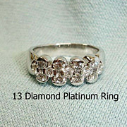 SALE!! Vintage Estate Platinum Diamond Band Ring - Eternity Diamond Ring -  5-1/2 US