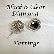 Black Diamond and Clear Diamond Earrings 3 Carats - 14K White Gold