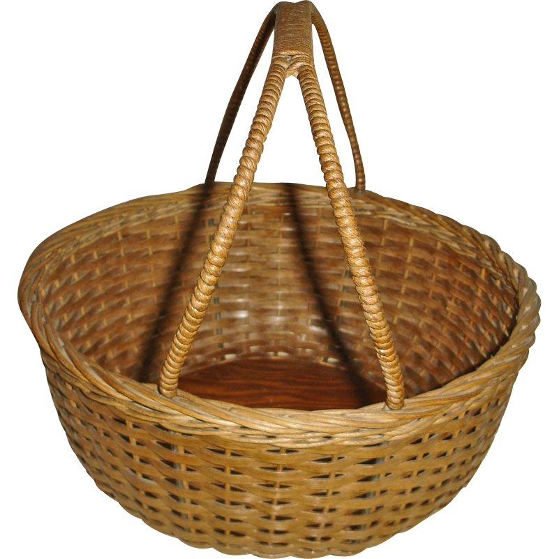 Vintage Oak Splint Gathering Basket