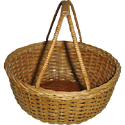 Vintage Ash Splint Gathering Basket