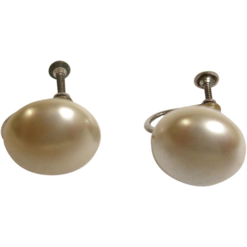 Vintage Faux Mabe Pearl Earrings