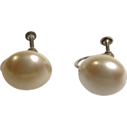 Vintage Glass Mabe Pearl Earrings
