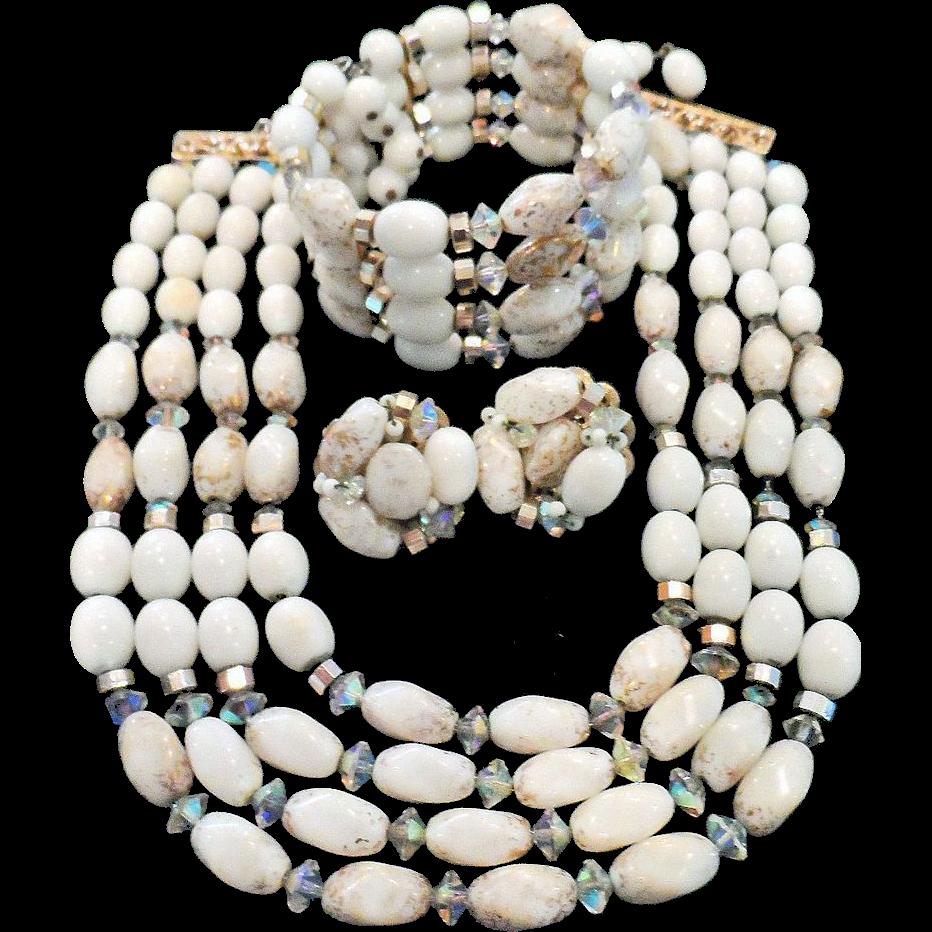 Signed Hobe Necklace Bracelet Earrings Set – Vintage Hobe Demi Parure Jewelry