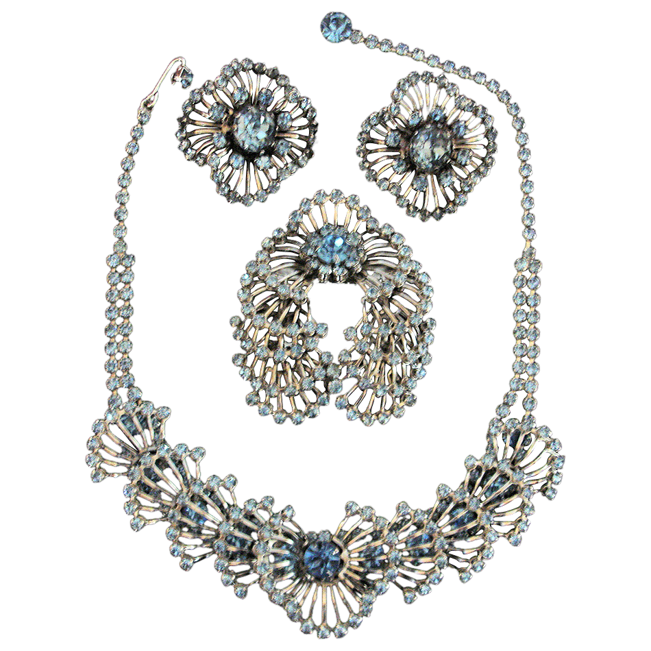 Vintage Kramer of New York  Necklace Brooch and Earrings Set - Silver Tone and Blue Rhinestone Parure