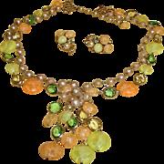 KRAMER Demi Parure -TASSEL Necklace and Earrings Set - Vintage  1950's Designer Jewelry