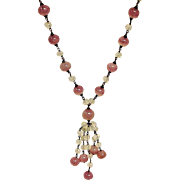 Pink Opaque Venetian Glass Necklace - Vintage Estate Jewelry