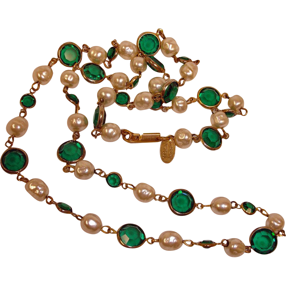 "Miriam Haskell Necklace - Glass Baroque Pearls and Green Cut Glass 28"" Necklace - Estate Haskell Jewelry"