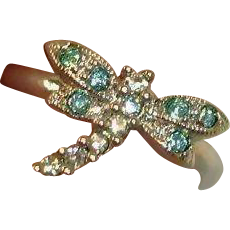 Estate Small Rhinestone Dragonfly Ring - VINTAGE Pinky Ring or Child's Ring Size 3-1/2 US