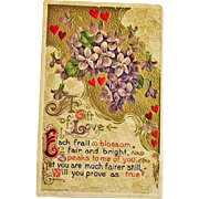 LOVE POEM Post Card - Embossed Greeting Postcard