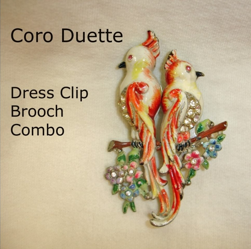 Coro DUETTE Fur Clip Combination Brooch – 1940's Vintage CORO Bird Jewelry
