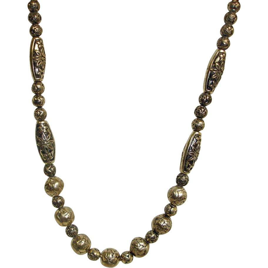 Vintage Custom Antiqued Silver Color Molded Bead Necklace