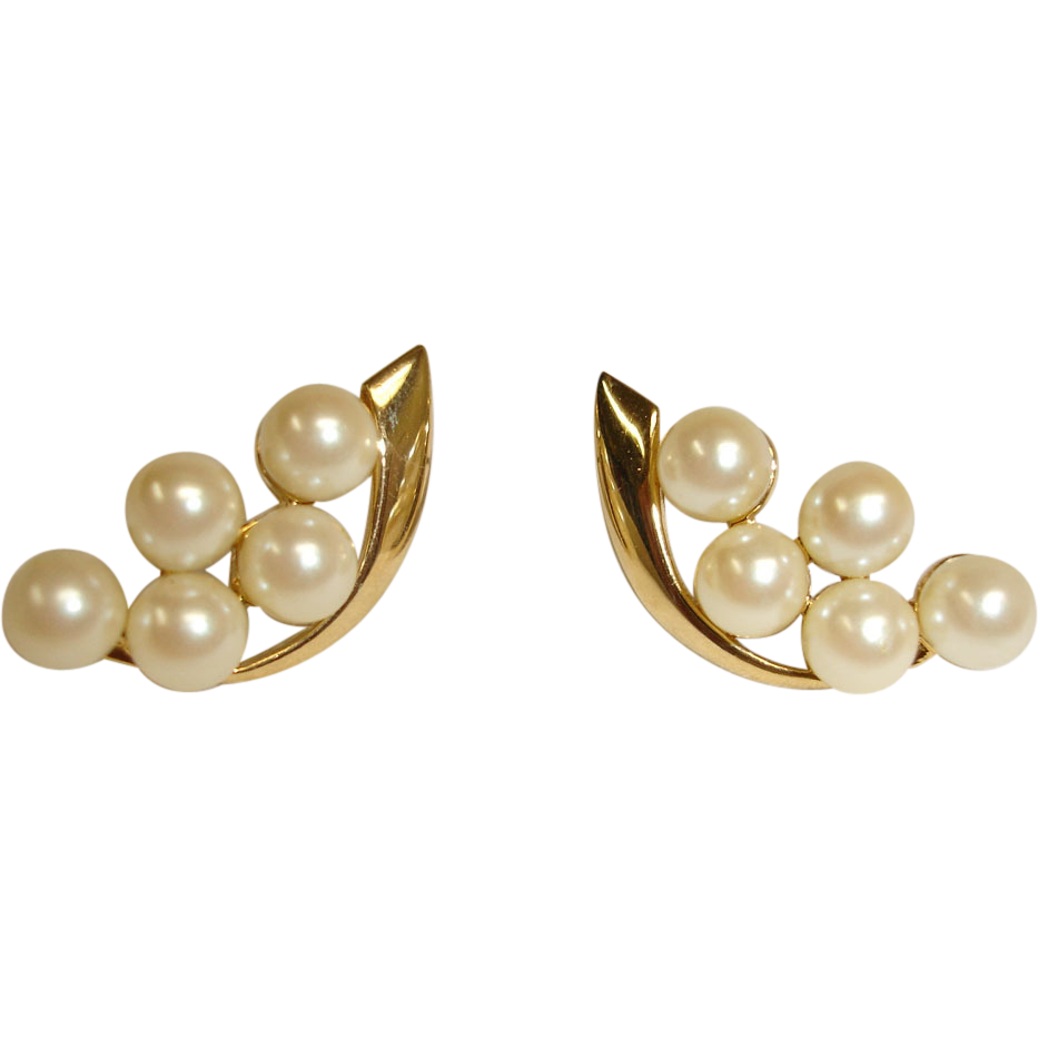 Vintage Faux Pearl Cluster Pierced Earrings