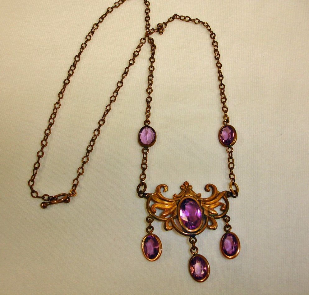 Vintage Amethyst and Gold Tone Necklace