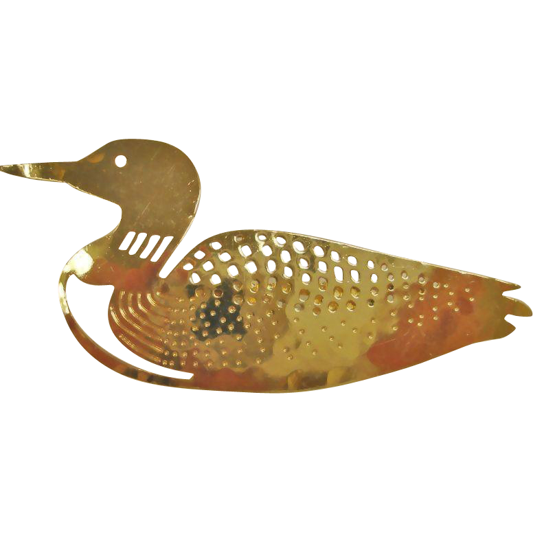 Vintage 14K Gold Plated Loon Pin or Brooch