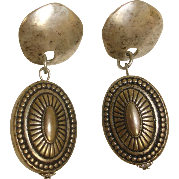 Vintage Silver Tone Dangle Drop Pierced Earrings