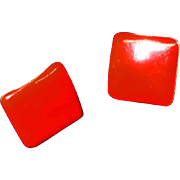 MOD Red Enamel Pierced Earrings