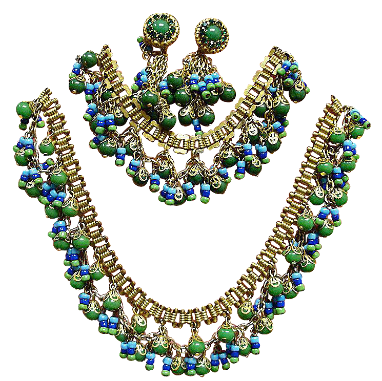 Miriam Haskell Egyptian Revival Parure - Vintage Miriam Haskell Jewelry Sets