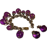 Estate NAPIER Charm Bracelet and Earrings Demi Parure - Vintage Purple Napier Jewelry
